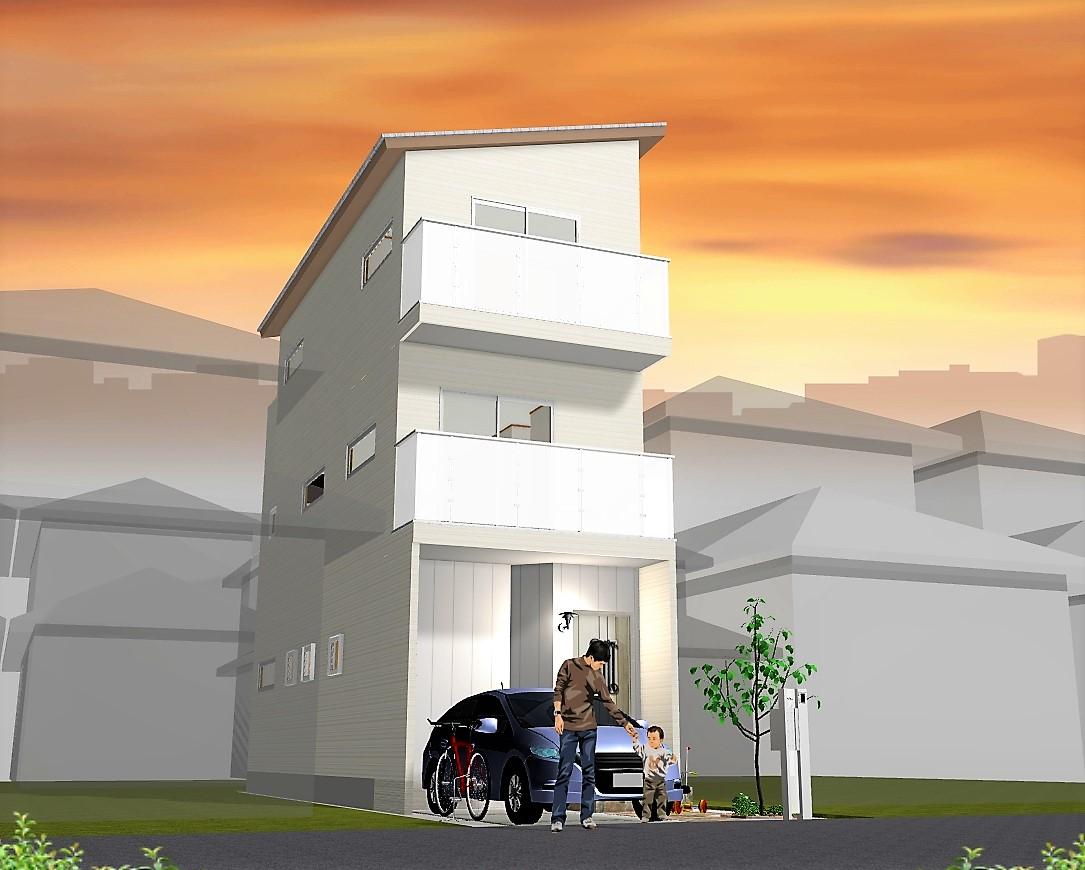 3LDK建物プラン例 外観パース図