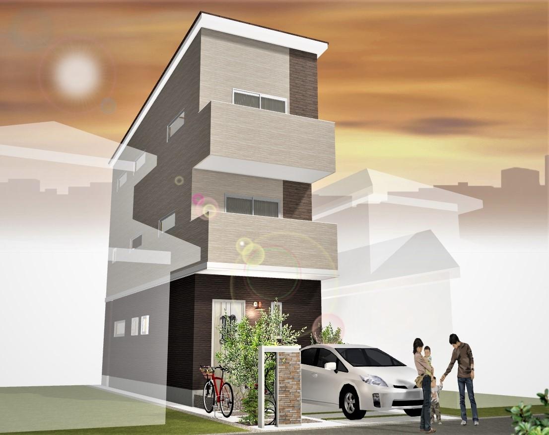 建物プラン例(1階水廻りプラン)外観パース図