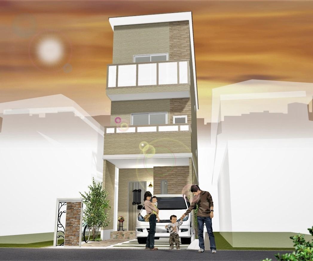 建物プラン例(2階水廻りプラン)外観パース図