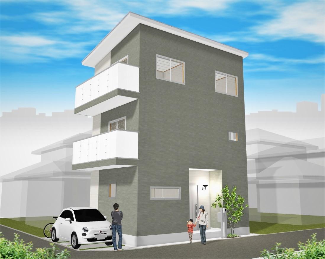 建物プラン例 外観パース図 住道矢田