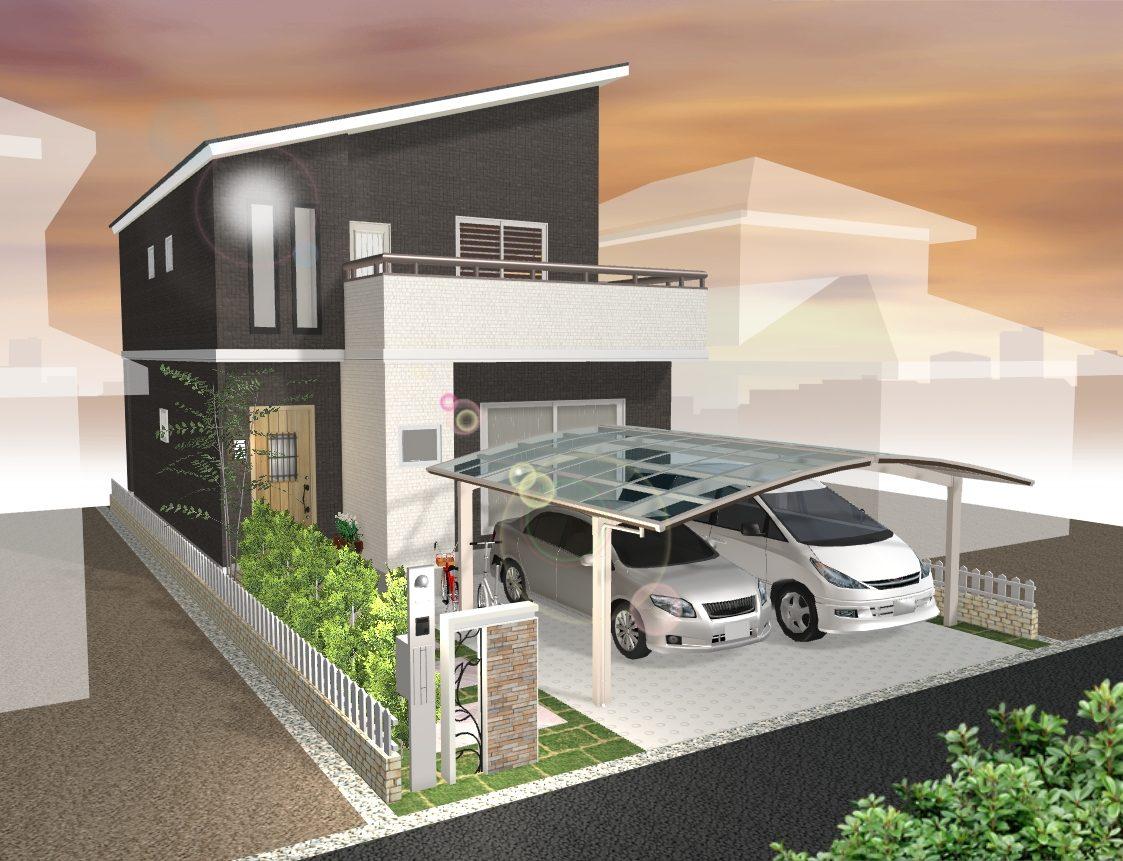 建物プラン例 (カーポート・塀はオプションになります)