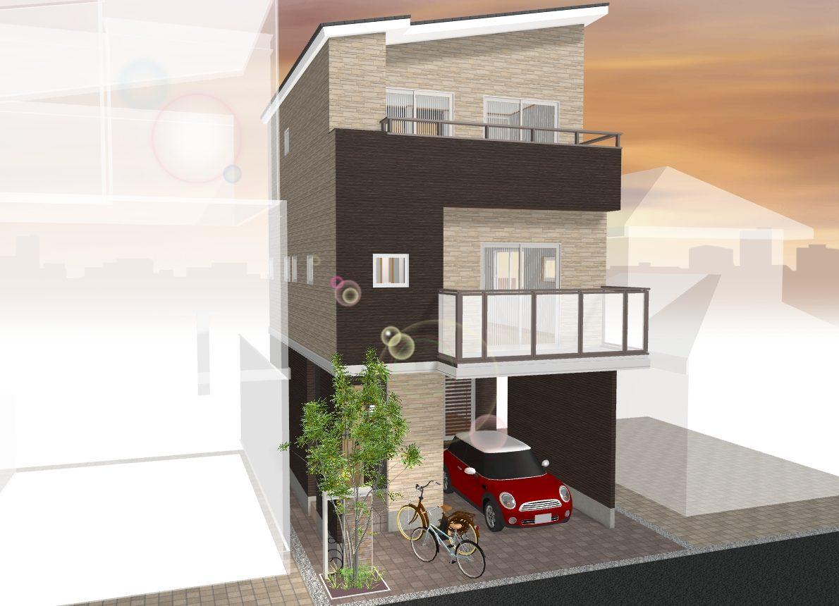 (建物プラン例 ご参考イメージ図) 土地約19坪♪外観や間取り、住宅設備がお好みでお選びいただけます♪