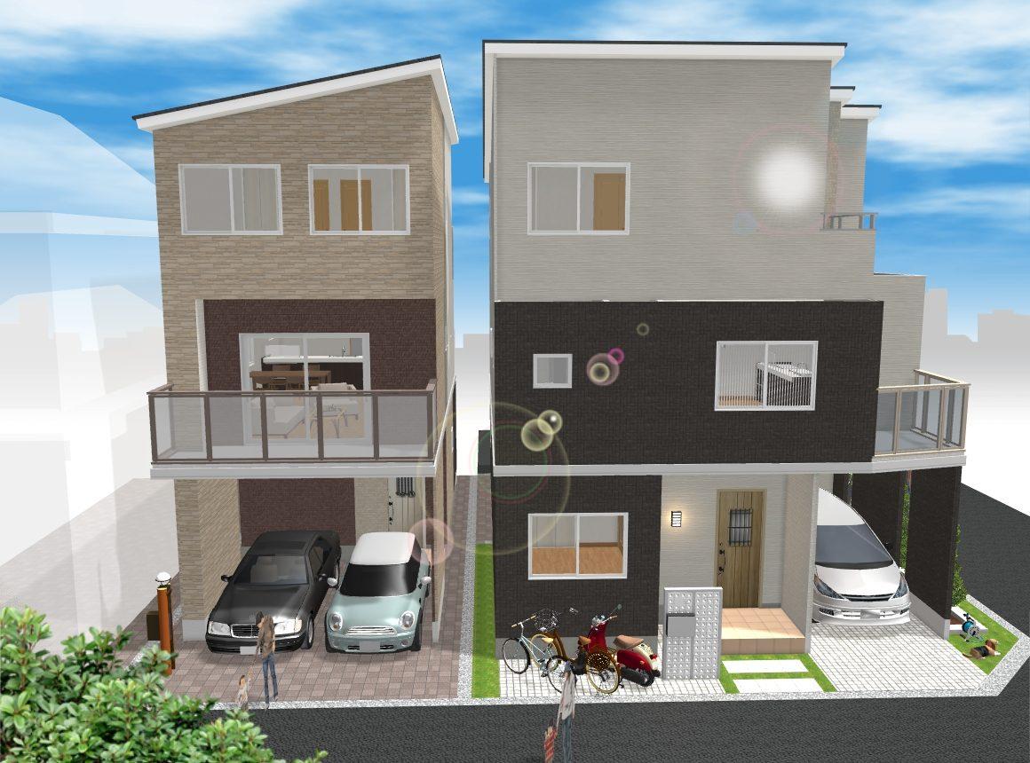 (建物プラン例 イメージ図) 外観や間取りの変更、住宅設備が選択できるフリープラン物件♪