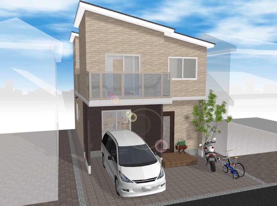 (建物プラン例 ご参考イメージ図) B号地 土地約30坪 駐車2台プラン可能 間口約7.2m♪