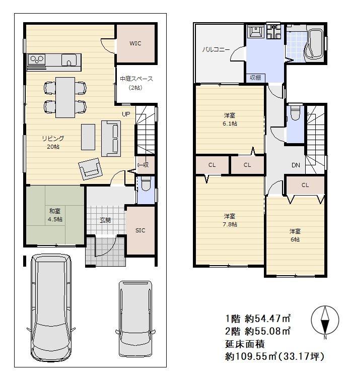 (建物プラン例 間取り図) 1階に中庭を設け2階の東南に大きく約3.75帖分のバルコニーを設置したご参考プランです♪