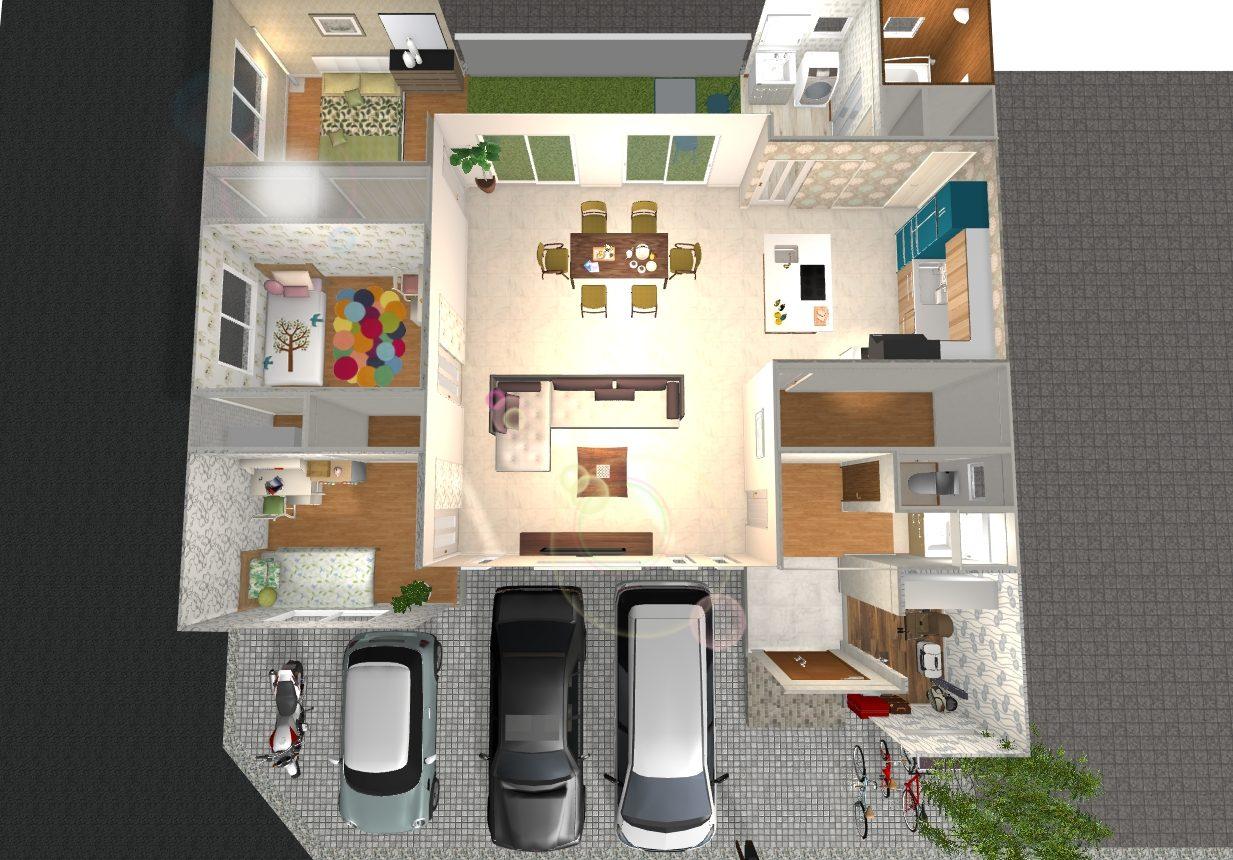 (建物プラン例 内観イメージ図) リビングや各部屋に採光を確保し、南向きに専用庭を設けたプランです♪