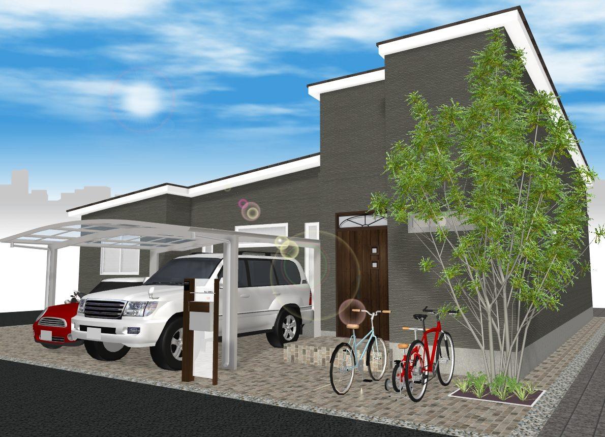 (建物プラン例 ご参考イメージ図) 角地 土地約64坪 駐車2~3台プラン可能 東側間口広々15m♪